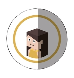sticker lego with portrait female person vector image