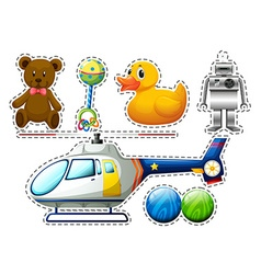 Sticker set of many toys vector