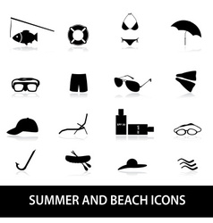 summer and beach icons eps10 vector image