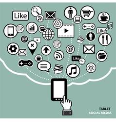 tablet social media concept vector image