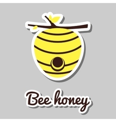 Yellow beehive sticker vector