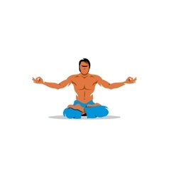 Young man practising yoga sign vector
