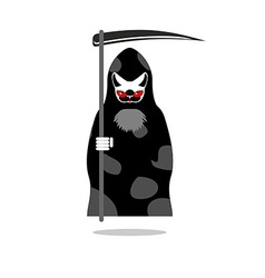 Death of cat grim reaper with an individual pet vector