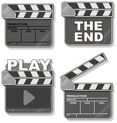 Movie black clapper boards set vector