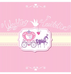 Wedding invitation with retro horse carriage vector