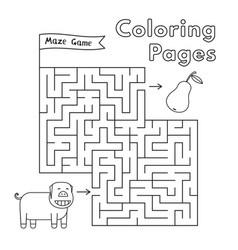 Cartoon pig maze game vector