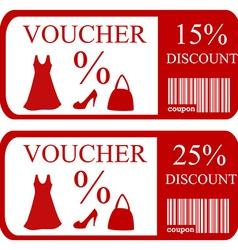 15 and 25 discount vouchers vector
