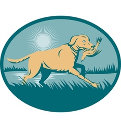 Retriever dog with bird on wetland vector