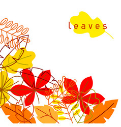 Card with stylized autumn foliage falling leaves vector