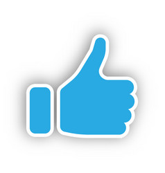Blue hand silhouette with thumb up gesture of vector