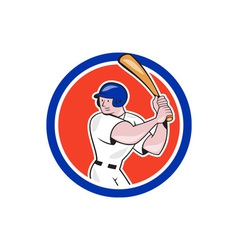 Baseball player batting circle side cartoon vector