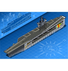Section of isometric aircraft carrier in front vector