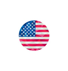 Usa flag stars and stripes circle low polygon vector