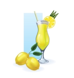 Lemon in goblet of juice cocktail smoothie vector
