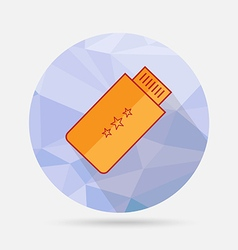 Usb flat icon on geometric background vector