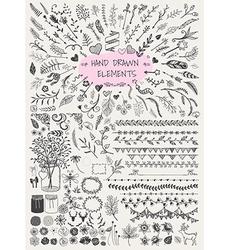 Hand drawn florals big set vector image