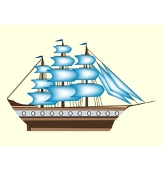 Sailing color ship frigate retro transport sea vector