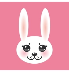 Kawaii funny animal muzzle white rabbit on pink vector
