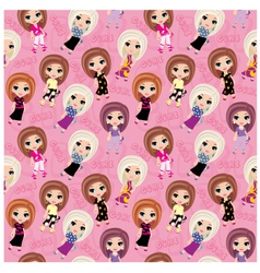 Seamless girls pattern vector