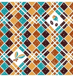 Seamless pattern argyle and coffee vector