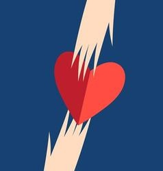Graphic hands with heart on a blue background vector