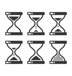 Sand hourglass timer icon set vector