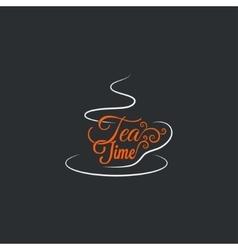 Cup of tea logo mug ornate design background vector