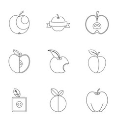 Apple icon set outline style vector