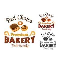 Bakery emblems with buns and bagel vector