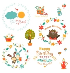 Birthday elements with cute animals and wreath vector image vector image