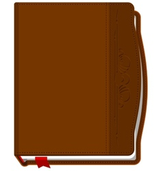 Brown closed the book with a red bookmark vector