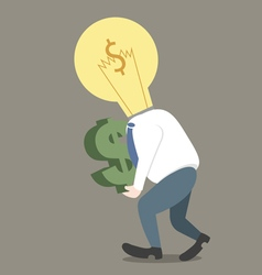 Businessman light bulb on head get dollar in hand vector image vector image