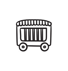 Circus wagon sketch icon vector