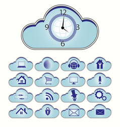 computer cloud set vector image vector image