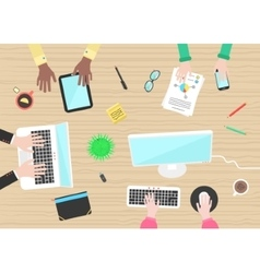 concept of teamwork with hands and objects on vector image vector image
