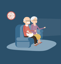 Elderly couple sitting on the sofa and watching tv vector