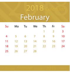february 2018 calendar popular premium for vector image vector image