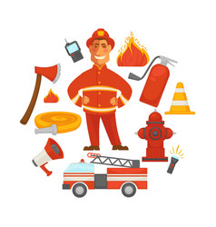 Firefighting and fire protection poster of vector