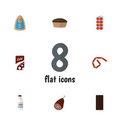 Flat icon meal set of confection tomato tart and vector