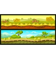 Game landscapes horizontal banners vector