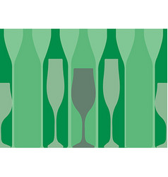green background with bottles of alcohol vector image