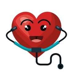heart character with stethoscope isolated icon vector image
