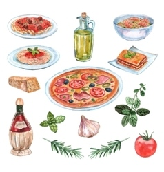 Italian food watercolor set vector