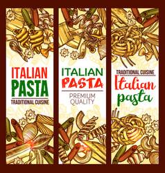 italian pasta restaurant sketch banners vector image