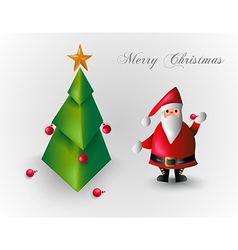Merry christmas tree and santa claus eps10 file vector