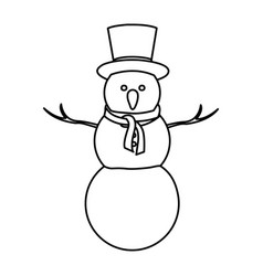 Monochrome contour of big snowman with top hat and vector