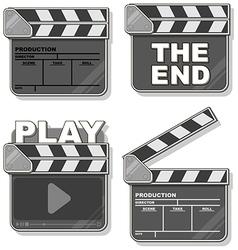 Movie black clapper boards set vector
