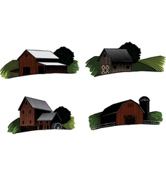 old barn scenes color vector image vector image