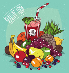 pile of fruits and glass of fruit juice vector image