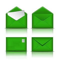 Set of Green envelopes vector image